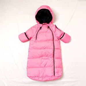 RALPH LAUREN Pink Fully Enclosed Baby Puffer Suit
